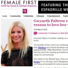 Gwyneth Paltrow reveals another reason to love bee venom.