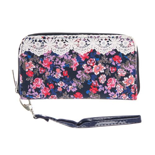 Navy Blue Floral and Crochet Wristlet
