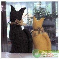 Moldes Para Artesanato em Tecido: Gatinho peso de porta com molde