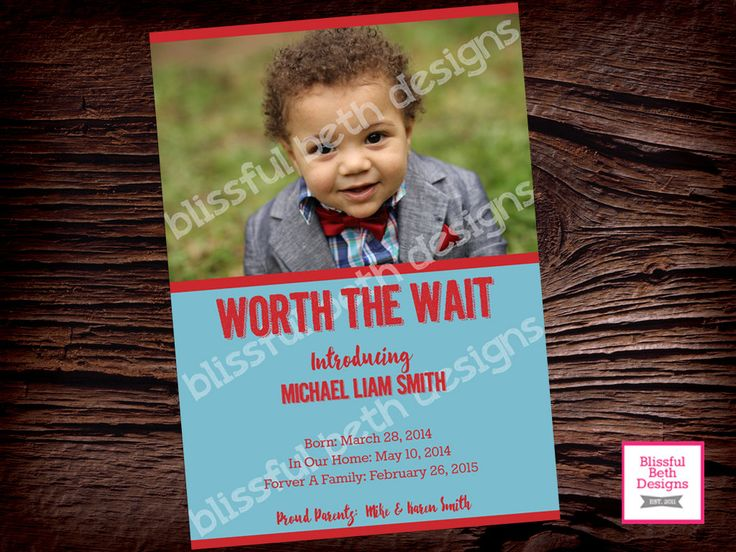 ADOPTION ANNOUNCEMENT, Adoption, Worth the Wait, Gotcha Day, Announcing Adoption, Adopt, Worth Waiting For, Adoption Announcement by BlissfulBethDesigns on Etsy