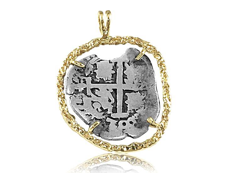 1 Reales Assayer  F 1700 Potosi 14k Gold Bezel Treasure Coin Pendant at depaulas.com