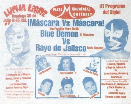 Lucha Libre Poster - Mascara Vs Mascara - Red/Blue