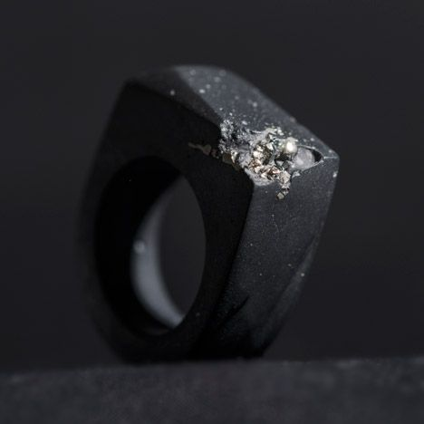 Fossilized Resin Jewelry in black and white. Concentrated by Sruli Recht