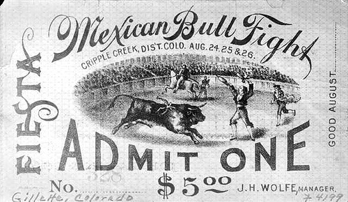 Mexican Bull Fight Ticket, via Flickr.