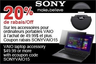20% Rabais - Accessoires Vaio - Sony  20% de Rabais sur les accessories pour ordinateurs portables Vaio a l'achat de 49.99$ et plus. Entrez Coupon Rabais SONYVAIO15.  http://www.groupvaudreuil.com/toutes-les-offres/20-rabais-accessoires-vaio-sony