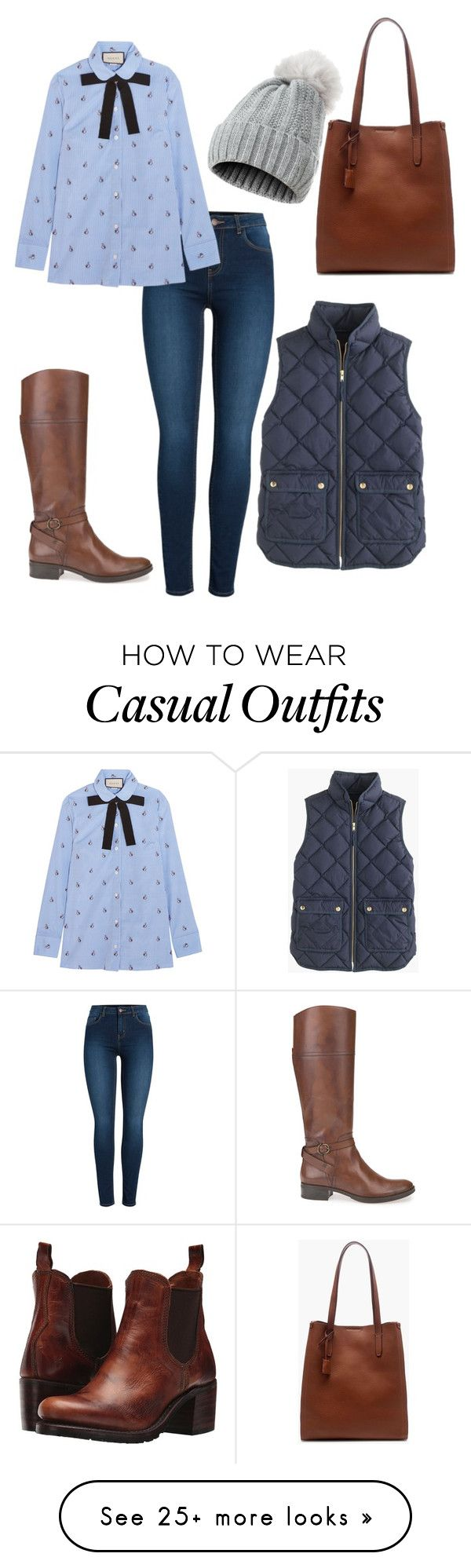 """""""Preppy fall style - casual chic - classy style"""" by svenjaschneeweiss on Polyvore featuring Pieces, Gucci, Frye, Geox and J.Crew"""
