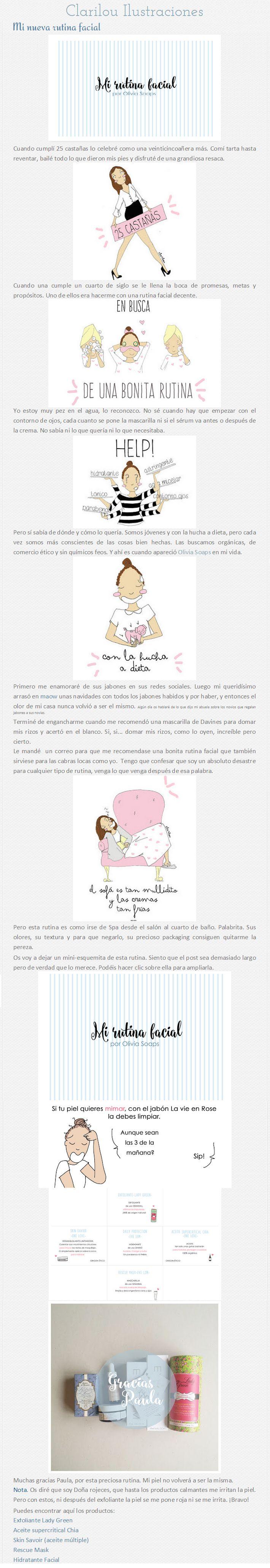 "Blog Ma Petite Clarilou, 3 de agosto de 2015: ""Mi nueva rutina facial"" http://mapetiteclarilou.blogspot.com.es/2015/08/mi-nueva-rutina-facial.html"