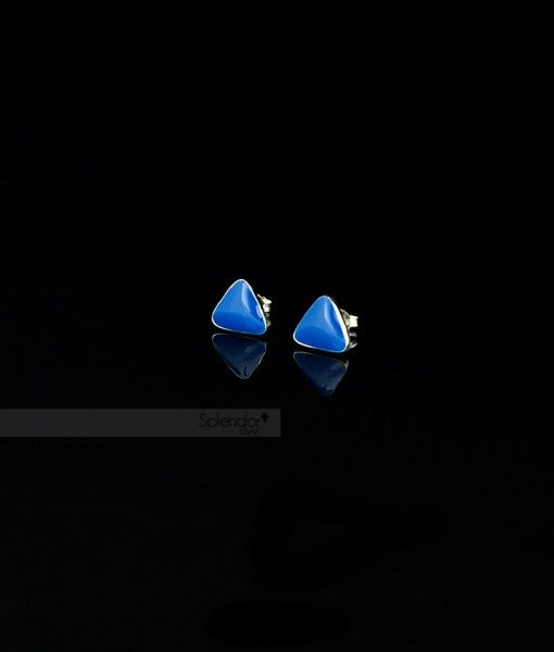 Blue neon triangle inlayed in sterling silver stud earrings. #neon #blue #earrings #stud #sterling #silver #splendorsilver #australia