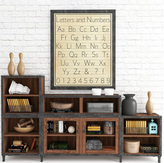 Letters and Numbers Classroom Decor Vintage Alphabet Wall