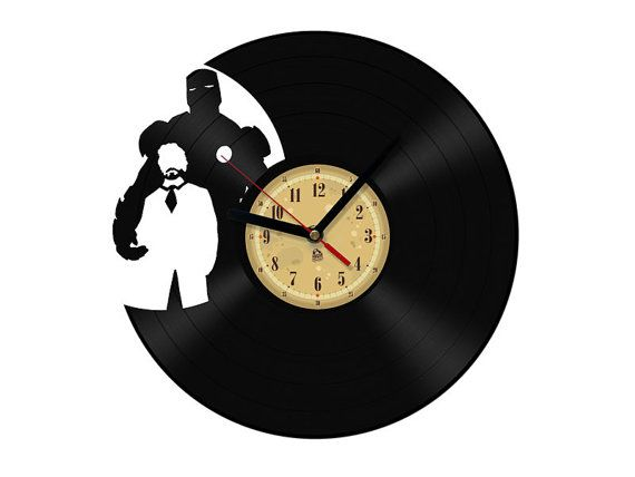 Vinyl Clock  Iron Man. Upcycling product by TheVinylEatersShop