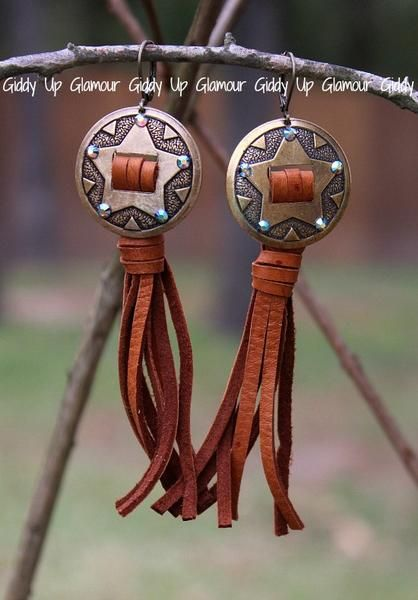 Pink Panache Bronze Star Concho Earrings with ST Crystals and Tan Leat – Giddy Up Glamour Boutique