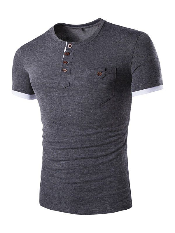 Casual Solid Color Round Color Short Sleeves T-Shirt For Men - DEEP GRAY L