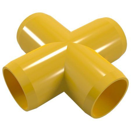 PVC Pipeworks 1-1/4 inch Cross PVC Furniture Grade Fitting in Yellow - X Joint (4-Pack)