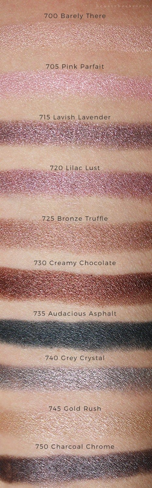 Maybelline Color Tattoo Crayons Swatches for Barely There, Pink Parfait, Lavish Lavender, Lilac Lust, Bronze Truffle, Creamy Chocolate, Audacious Asphalt, Grey Crystal, Gold Rush & Charcoal Chrome