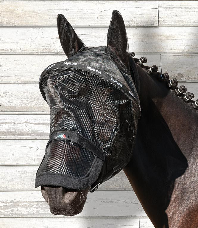 Benson - Semi rigid #fly #mask for paddock. It can be applied easily thanks to a quick closure with #Velcro www.equiline.it/