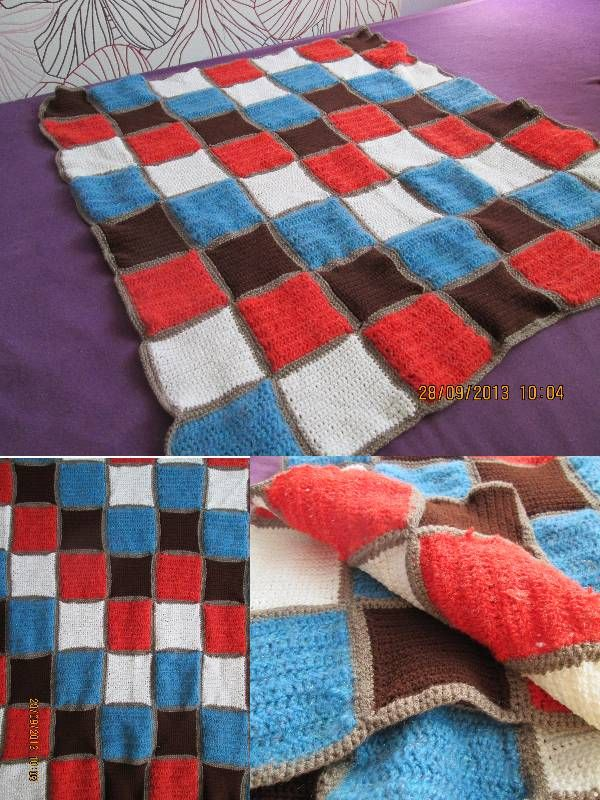 My very first bigger crochet project. When my best friend told me she is pregnant I started to crochet a baby blanket. And this is it. :) I hope she will like it. The blue and red squares are made with half double crochet, and the white and brown square are made with simple crochet.
