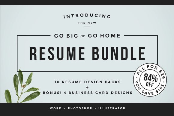 "Go Big or Go Home! The Resume Bundle by Refinery Resume Co. on Creative Market ""Great for Starting Your Own Resume Writing Business!"""