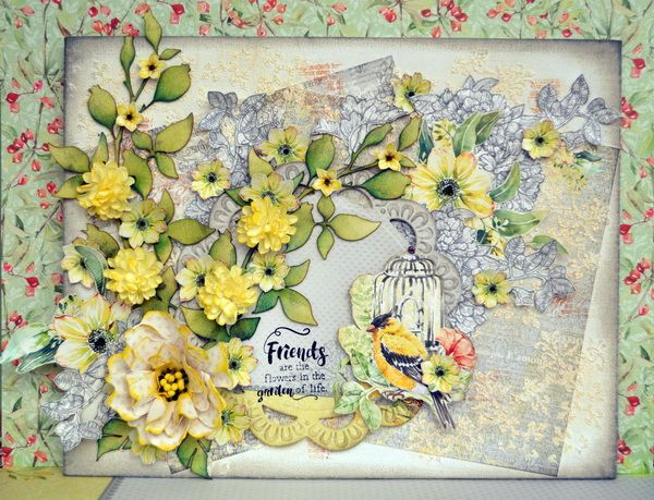 A mixed media Canvas using yummy goodies from ScrapBerrys and the gorgeous Sizzix Bigz Die - Calliope Item #661243