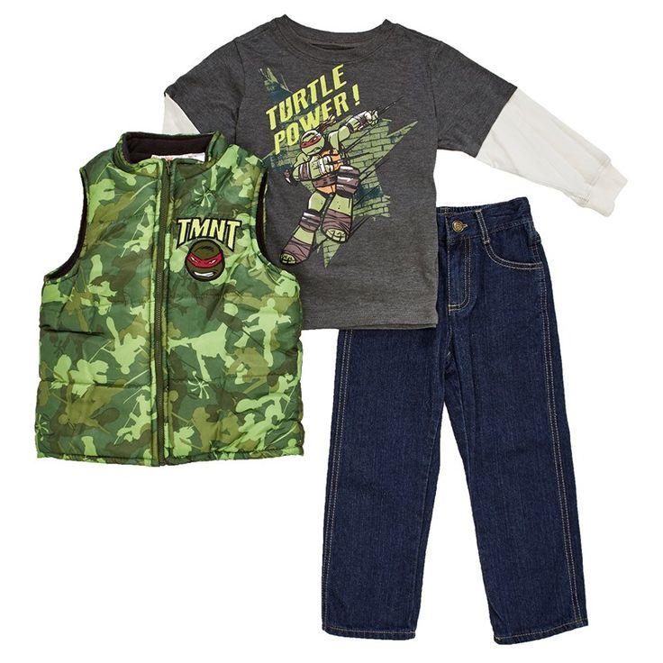 TMNT Vest w/Jeans Set (4-7) (polo gris mangas larga blancas, chaleco verde y jeans azul)
