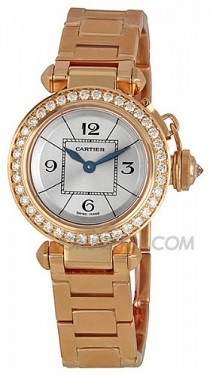 Cartier Miss Pasha Diamond Paved 18k Rose Gold Ladies Watch WJ124013 ¥214268