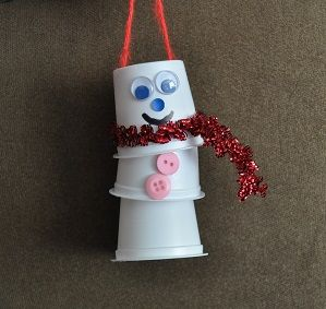 fun snowman craft made with recycled materials