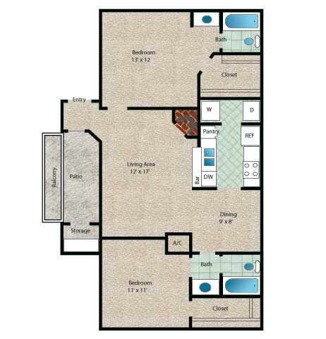 Tahiti Floor Plan 2 Bedroom 2 Bath With Approximately