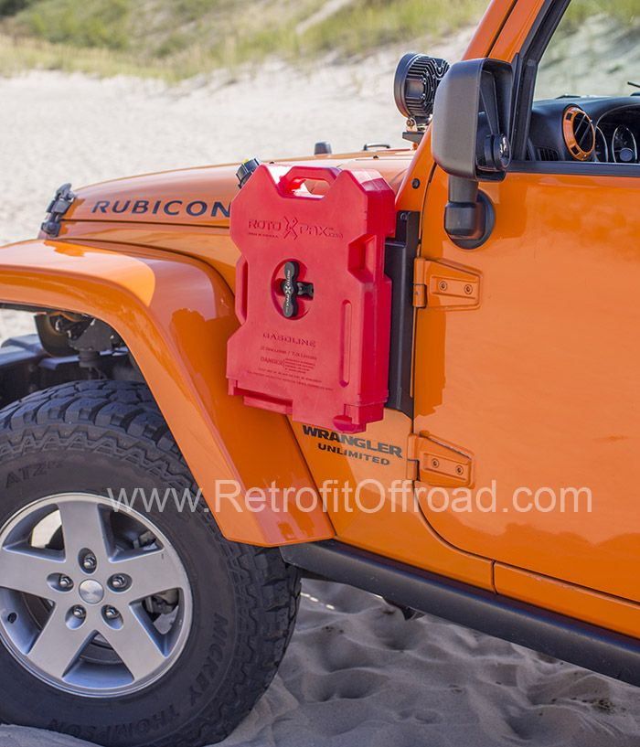 Jeep Wrangler JK Side Rotopax Mount, Driver Side Carry extra fuel, tools, or first aid for long trips Driver side and Passenger side options Uses mounting points already present in the Jeep. (One optional self-drilling screw may be installed under the hood to add extra strength.) High quality rugged military look Does not require drilling any holes in your Jeep Easy/Quick removal in minutes Provision for mounting a CB Antenna Rotopax and Rotopax Center Mount Hub sold seperat...