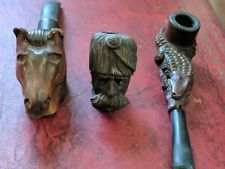 3 Antique Carved Tobacco Pipes Figural as is Horse Alligator & Ottoman