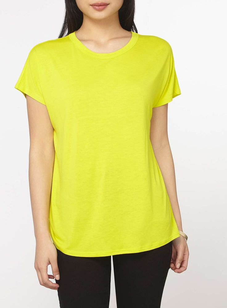 Womens Petite Lime Ovoid T-Shirt- Green