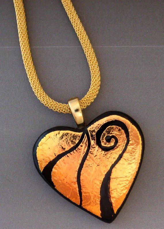Fused Glass Heart Pendant Heart Pendant Dichroic Fused by GlassCat, $30.00