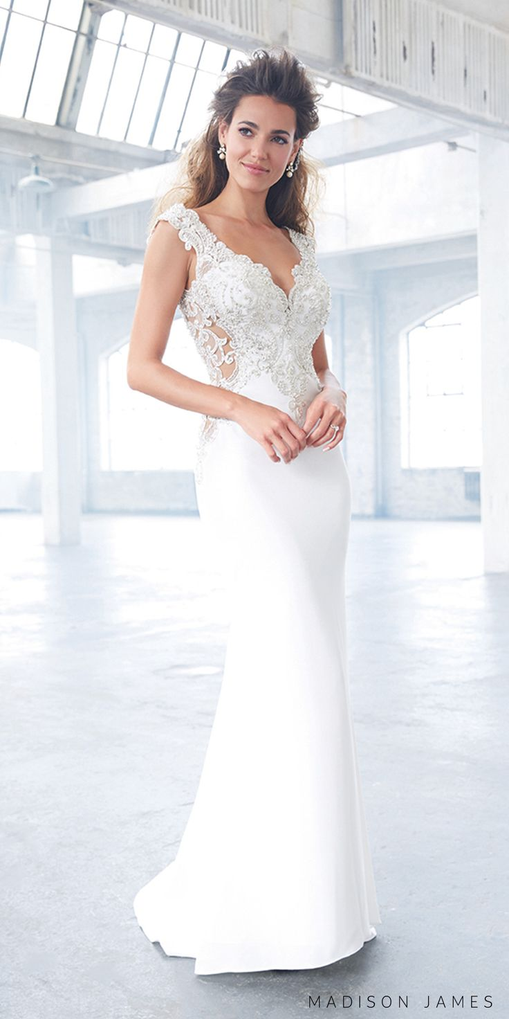 Madison James spring 2017 bridal sleeveless thick strap v neck heavily embellished bodice glamorous elegant sheath wedding dress open low back chapel train (mj307) mv #wedding #bridal #weddingdress