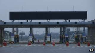 Empty gates for North Korea's Kaesong city are seen at the customs, immigration and quarantine office near the border village of Panmunjom, that separates the two Koreas, 3 May 2013