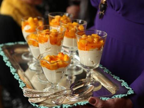 White chocolate cream with sea buckthorn and mango salad