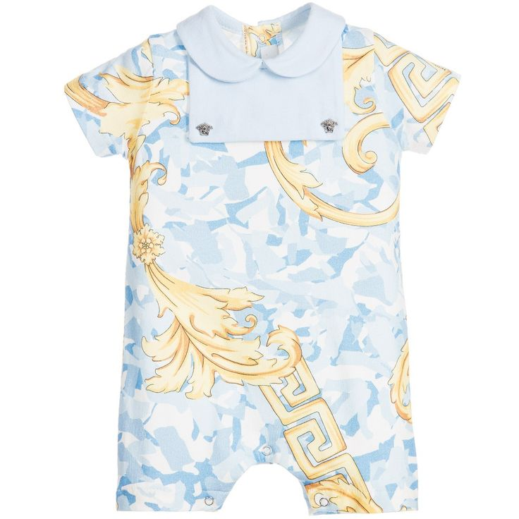 Baby boys blue short-sleeved camouflage shortie by Young Versace