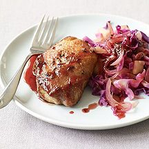 Cider-Glazed Pork Chops with Cabbage and Apples-- Tangy cider makes a delicious glaze for pork chops. It's also fabulous over caraway-scented cabbage, apple and onions in this one-pan meal. [10 points]