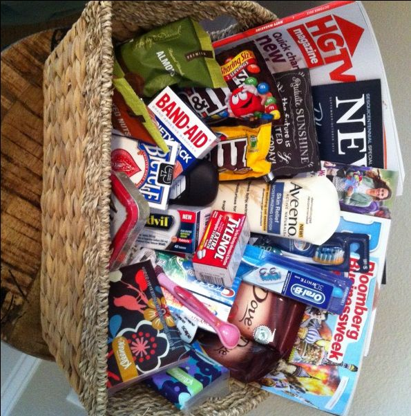 welcome basket for guests in their room.  It just contains some magazines, treats and other goodies that a guest may need or enjoy when they are away from home.  I look forward to doing this for all guests who visit our home.