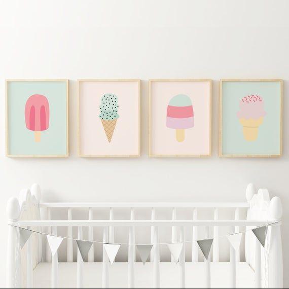 Eis Poster, Popsicle Kunstdruck, Mintgrün und erröten rosa Baby Mädchen …   – Products