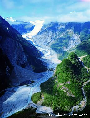 Fed by 4 alpine glaciers, Fox Glacier is located in Westland Tai Poutini National Park on the West Coast of New Zealand's South Island.  It     falls 8,500 ft on its 8 mile journey from the Southern Alps down to the coast. It has the distinction of being 1 of the few glaciers to end among lush rainforest 980 ft above sea level.