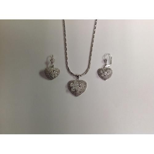 CZ Necklace and Earring Set Rhodium Plated in Gift Box