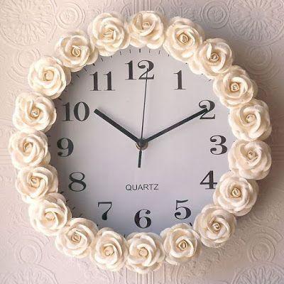 Tudo pra Casa- Relógio Moldura de Rosas: Faça Você Mesmo