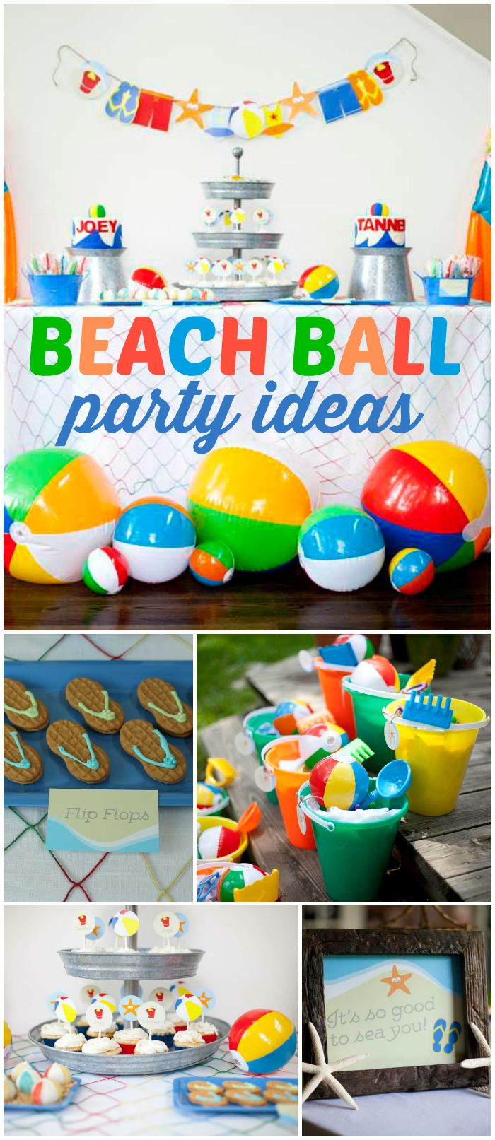 Lots of colorful beach balls are at this fun party! See more party ideas at CatchMyParty.com!