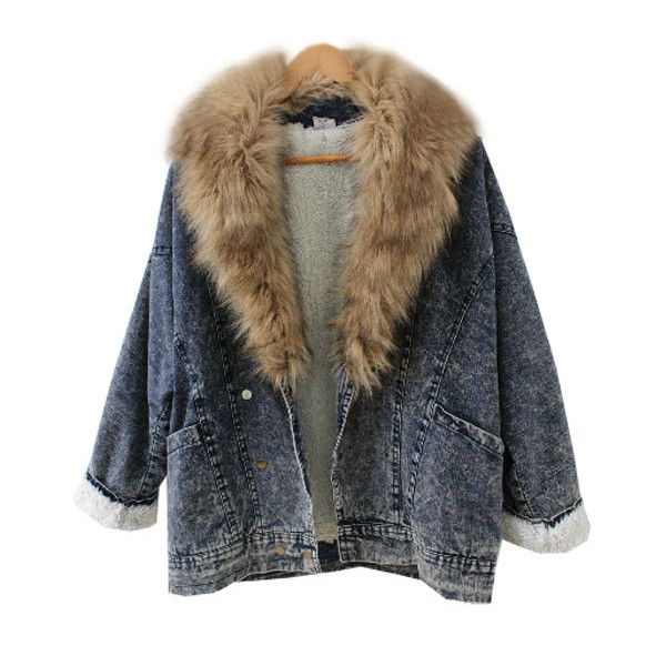 Denim Parka with Oversized Fur Collar (£68) ❤ liked on Polyvore featuring outerwear, coats, jackets, tops, western coats, fur collar coat, cowboy coat, parka coat and denim parka