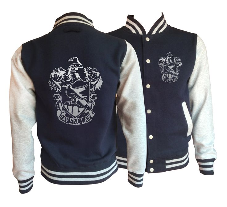 Vintage style Harry potter Inspired Ravenclaw House varsity jacket with silver emblem in front and back.  Amazing! by iganiDesign on Etsy