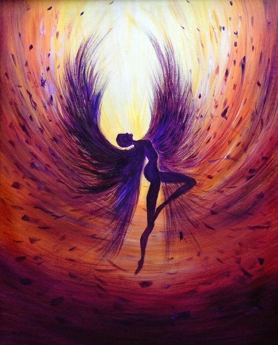 Art Print on canvas artwork fantasy Abstract Fallen angel mystical magic light glow dancing demonic dark wings