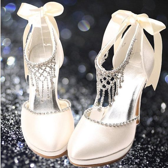 wedding shoes or prom shoes white or ivory gorgeous with crystals and satin bow