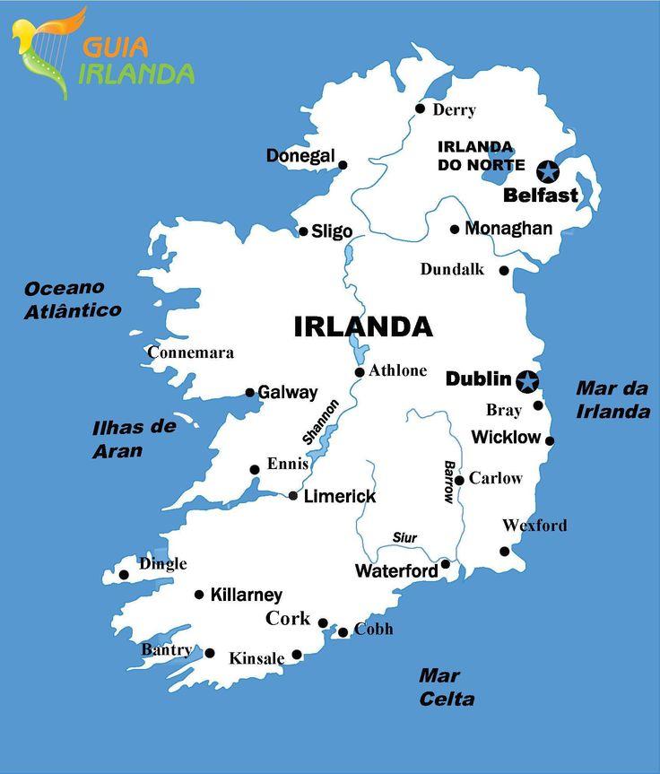 Mapas com as cidades de Irlanda