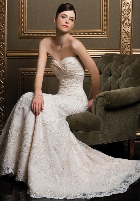 Well-Received Mermaid Lace Satin Sweetheart Empire Wasit Wedding Frocks