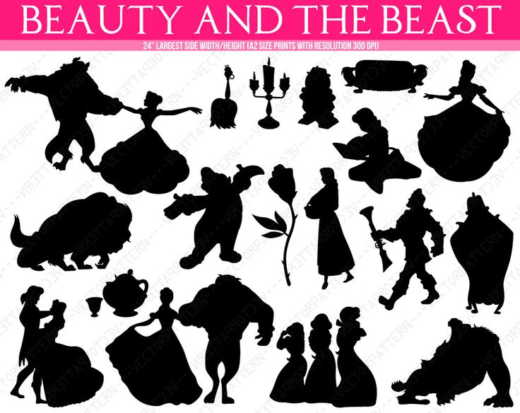 Beauty And The Beast Silhouettes Belle Gaston Lumiere