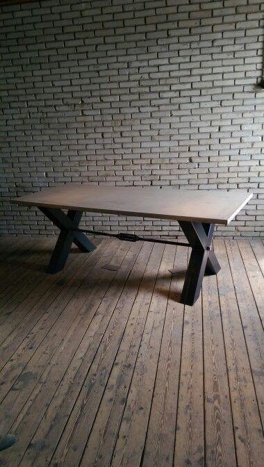 Concrete,steel industrial table