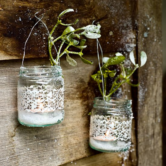 #diy how to make jam bar lanterns - Pretty lanterns will give guests a warm welcome. You could dye the lace different colors to give it a colorful look. Different spin on just plain mason jars.